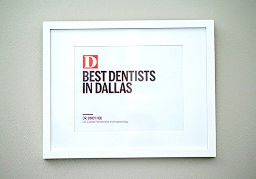 Best Dentists in Dallas award framed on wall